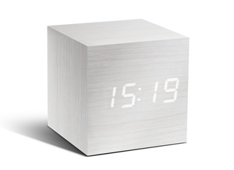 Cube White Click Clock