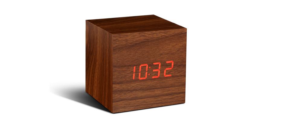 Cube Walnut Click Clock Cube Click Clock Gingko