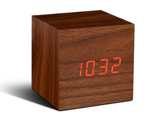 Cube Walnut Click Clock