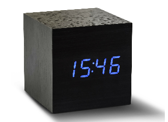 Maxi Cube Black Click Clock - Blue LED