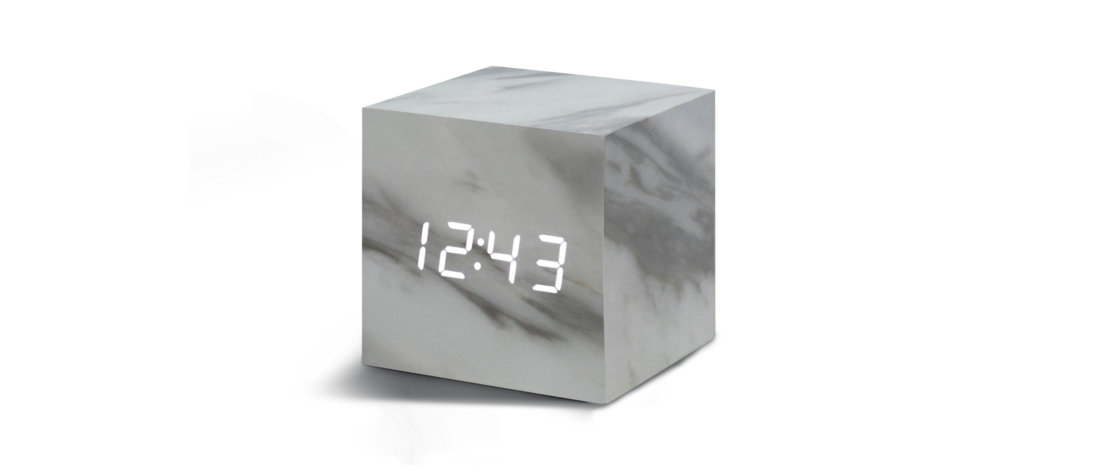 cube marble click clock  cube click clock  gingko - time can be smart clever ultrastylish functional and simple with thiscube marble alarm clock