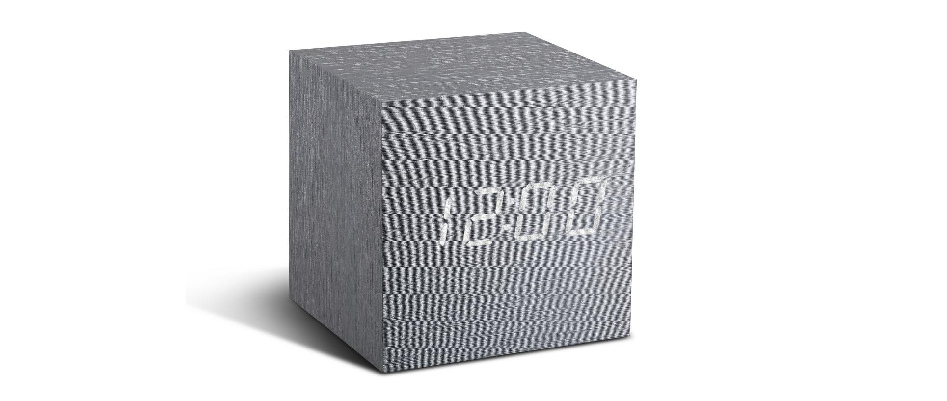 cube aluminium click clock  cube click clock  gingko - cube aluminium click clock