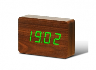 Brick Walnut Click Clock / Green LED